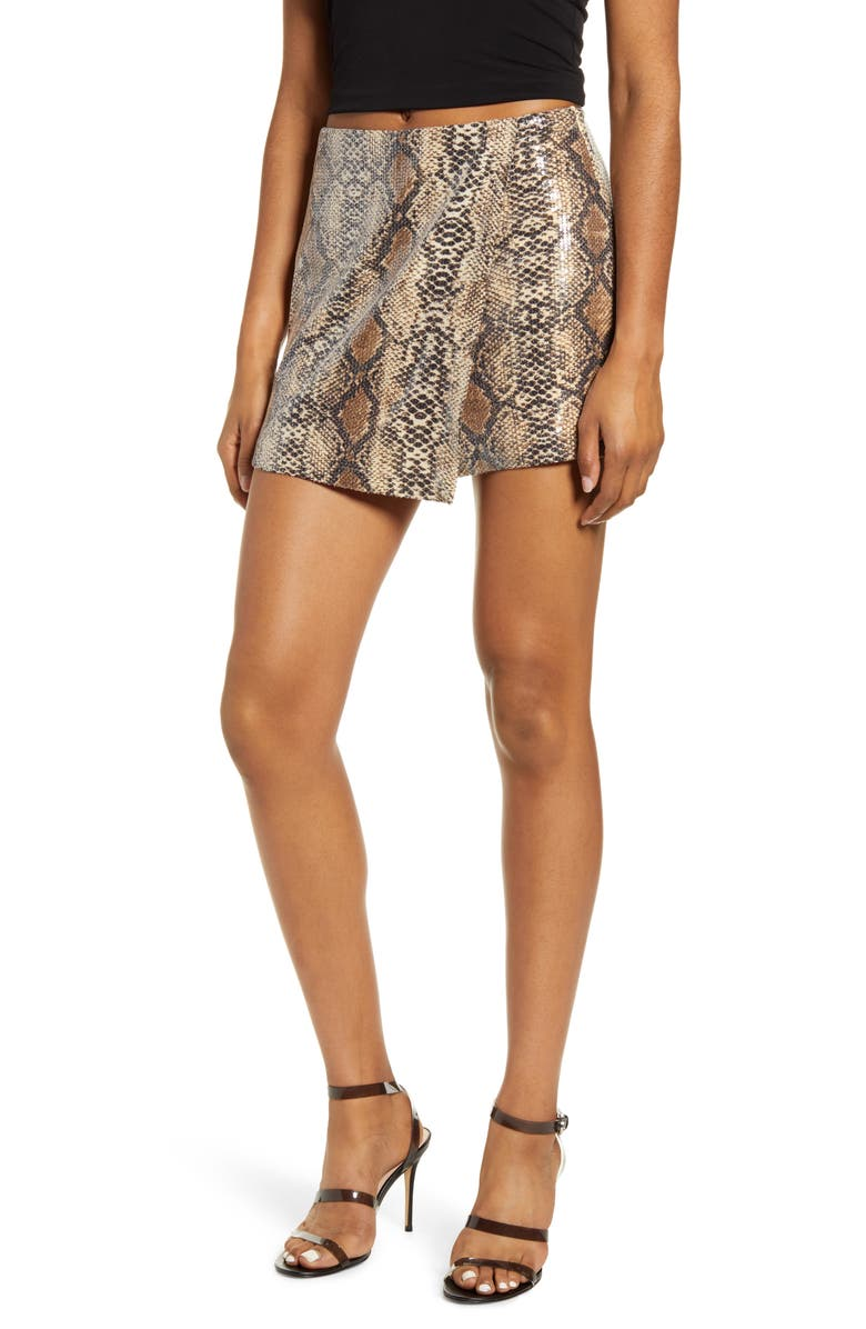 ENDLESS ROSE Python Pattern Wrap Shorts, Main, color, BROWN