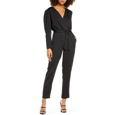 Fraiche By J Puff Sleeve Jumpsuit, Black