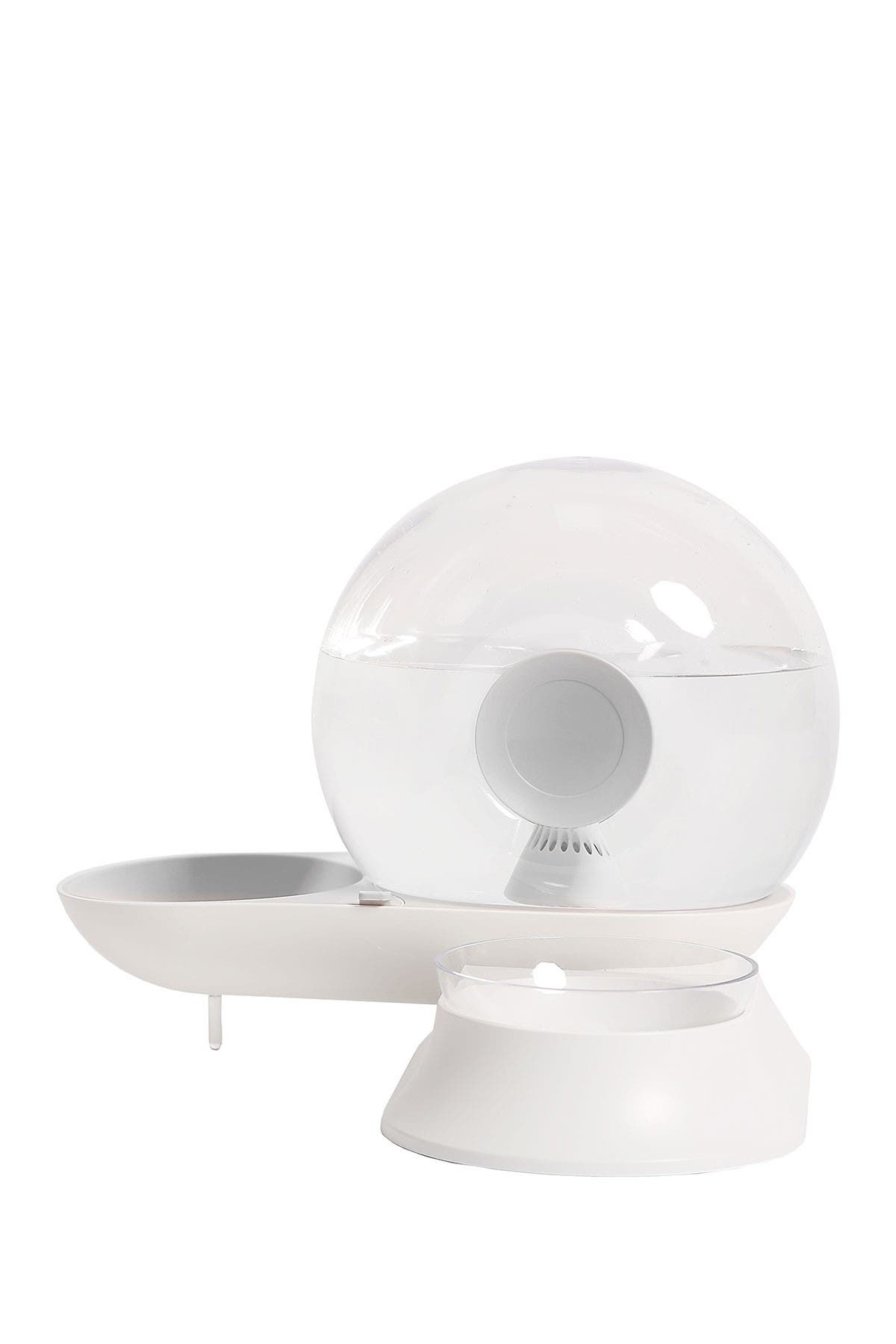 Image of Pet Life 'Auto-Myst' Snail Shaped 2-in-1 Automated Gravity Pet Filtered Water Dispenser & Food Bowl