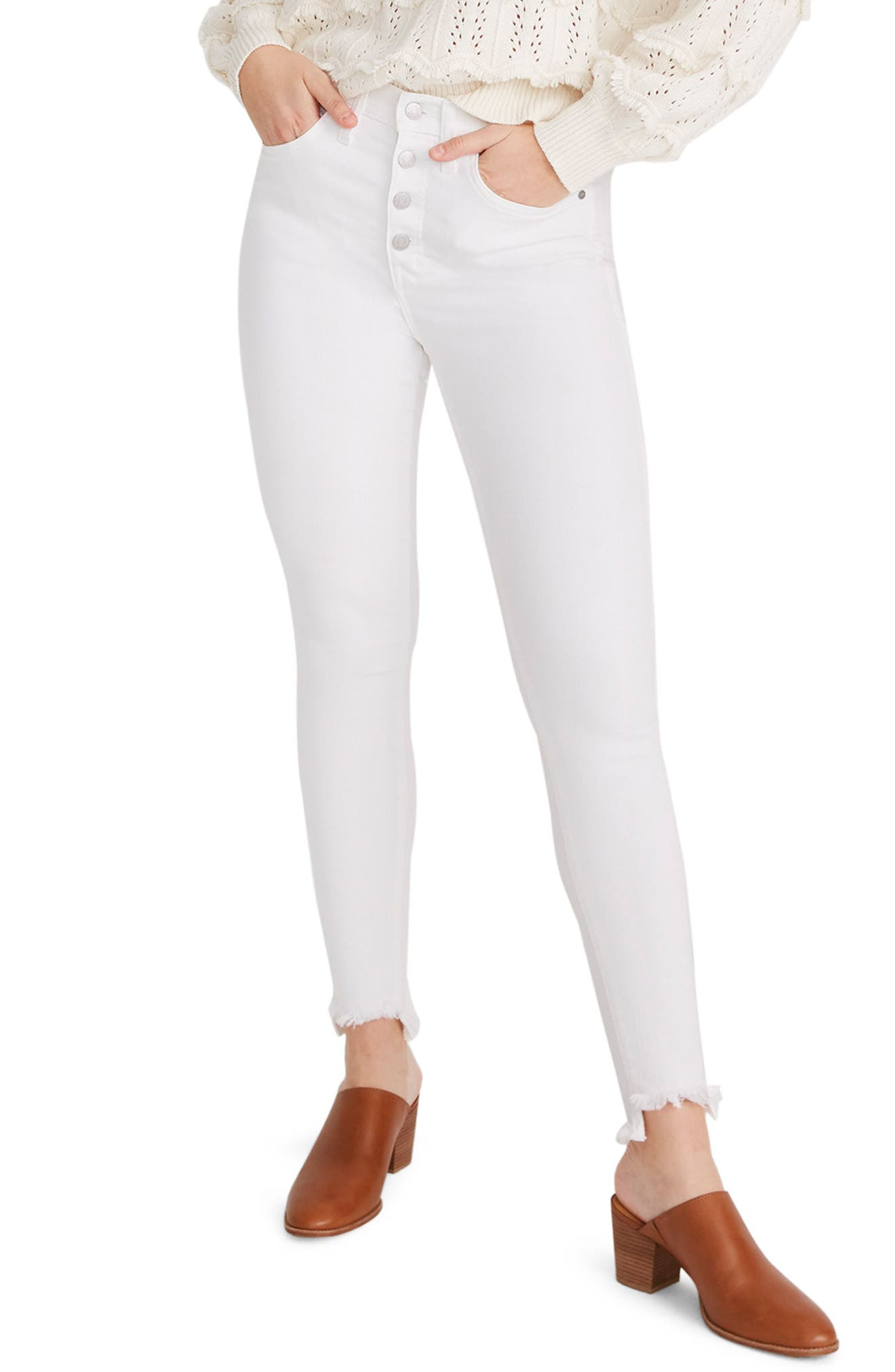 ,                             10-Inch High Waist Button Front Ankle Skinny Jeans,                             Alternate thumbnail 4, color,                             PURE WHITE
