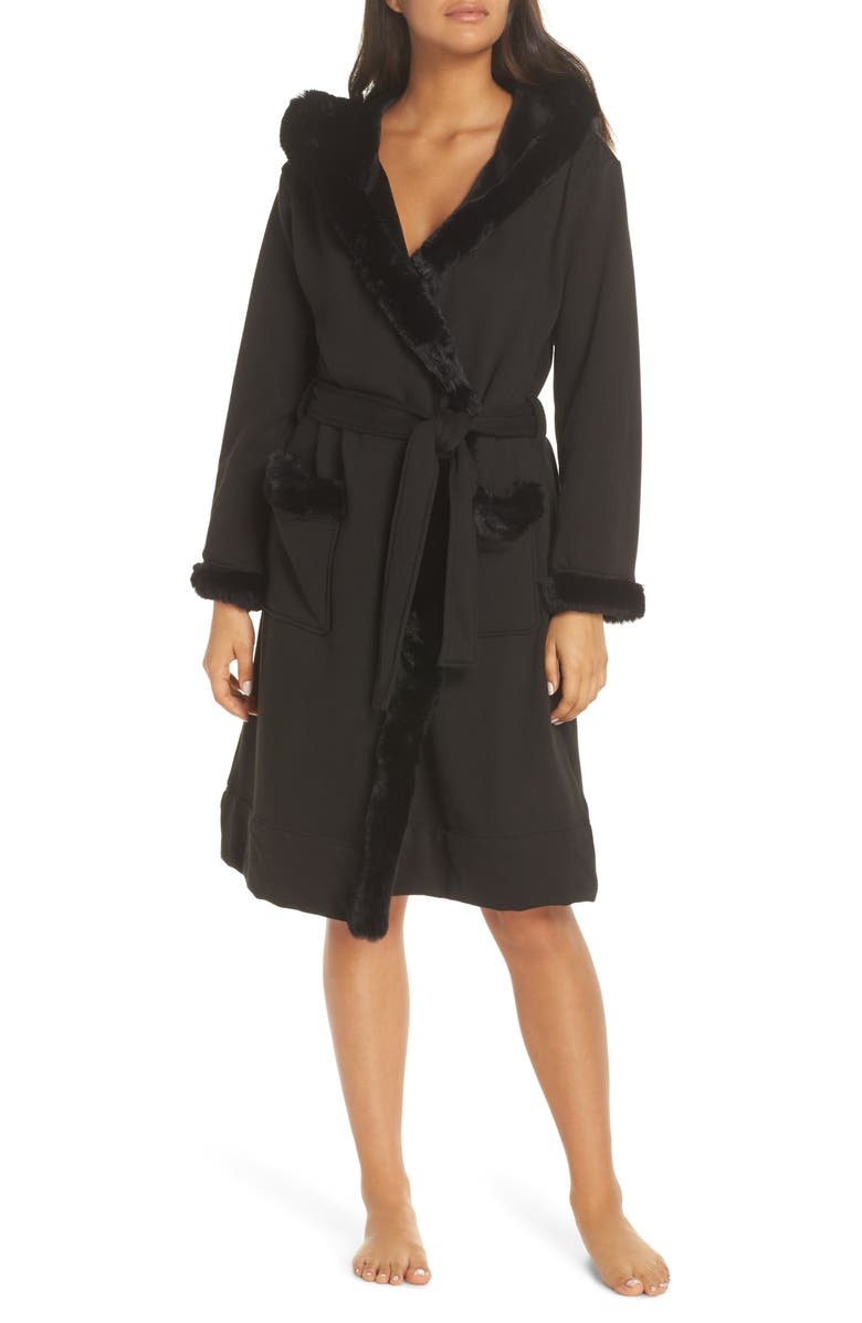 UGG<SUP>®</SUP> Duffield II Deluxe Faux Fur Trim Robe, Main, color, BLACK