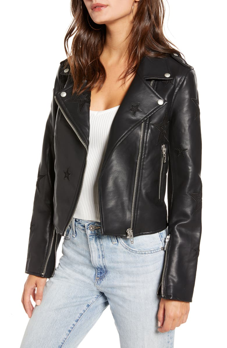 BLANKNYC Tonal Star Faux Leather Moto Jacket, Main, color, SHOOTING STAR