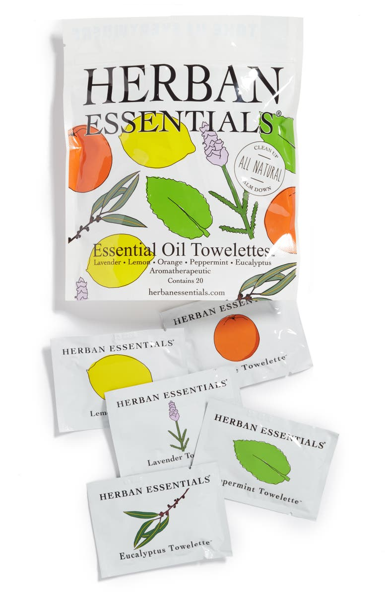 HERBAN ESSENTIALS Assorted Essential Oil Towelettes, Main, color, NONE