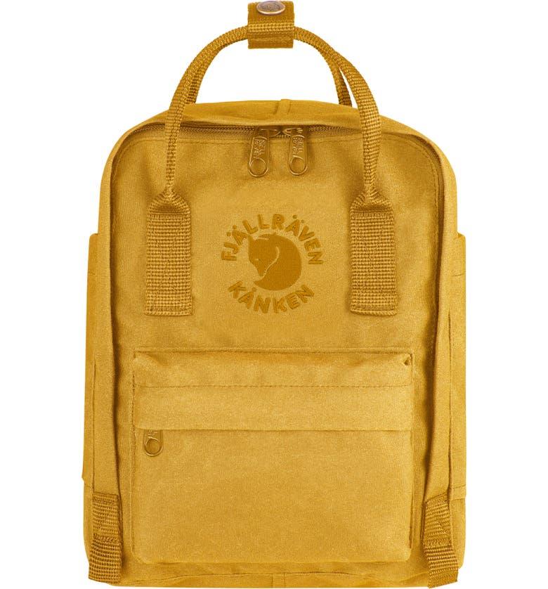 FJÄLLRÄVEN Mini Re-Kånken Water Resistant Backpack, Main, color, SUNFLOWER YELLOW