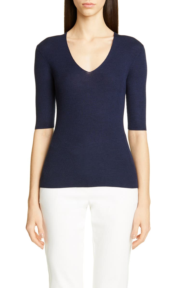 ST. JOHN COLLECTION Fine Gauge Ribbed Sweater, Main, color, NAVY