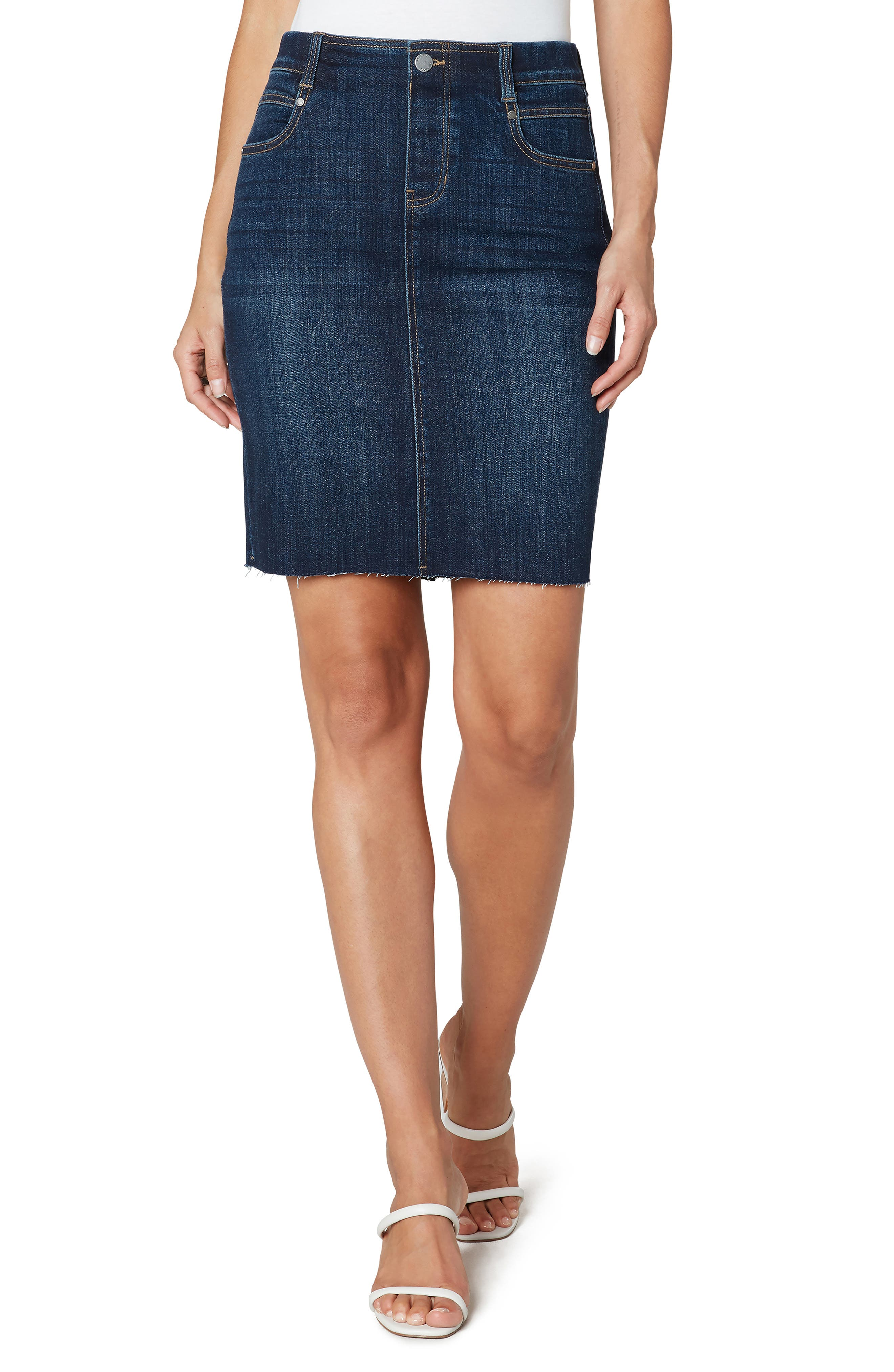 Gia Pull-On Denim Pencil Skirt