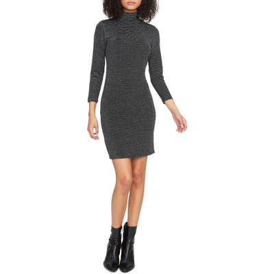 Petite Sanctuary Forget Me Not Metallic Stripe Turtleneck Sweater Dress, Grey