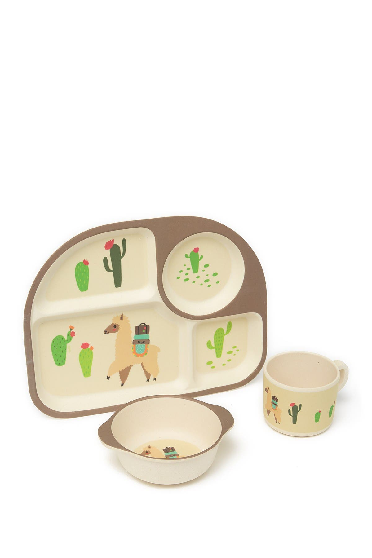 Image of LILA AND JACK Brown Llama and Cactus 3-Piece Kids Dinner Set