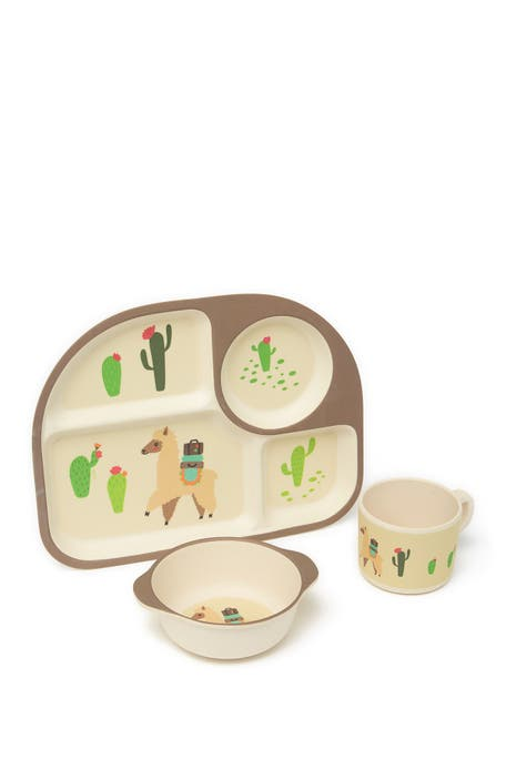 LILA AND JACK - Brown Llama and Cactus 3-Piece Kids Dinner Set