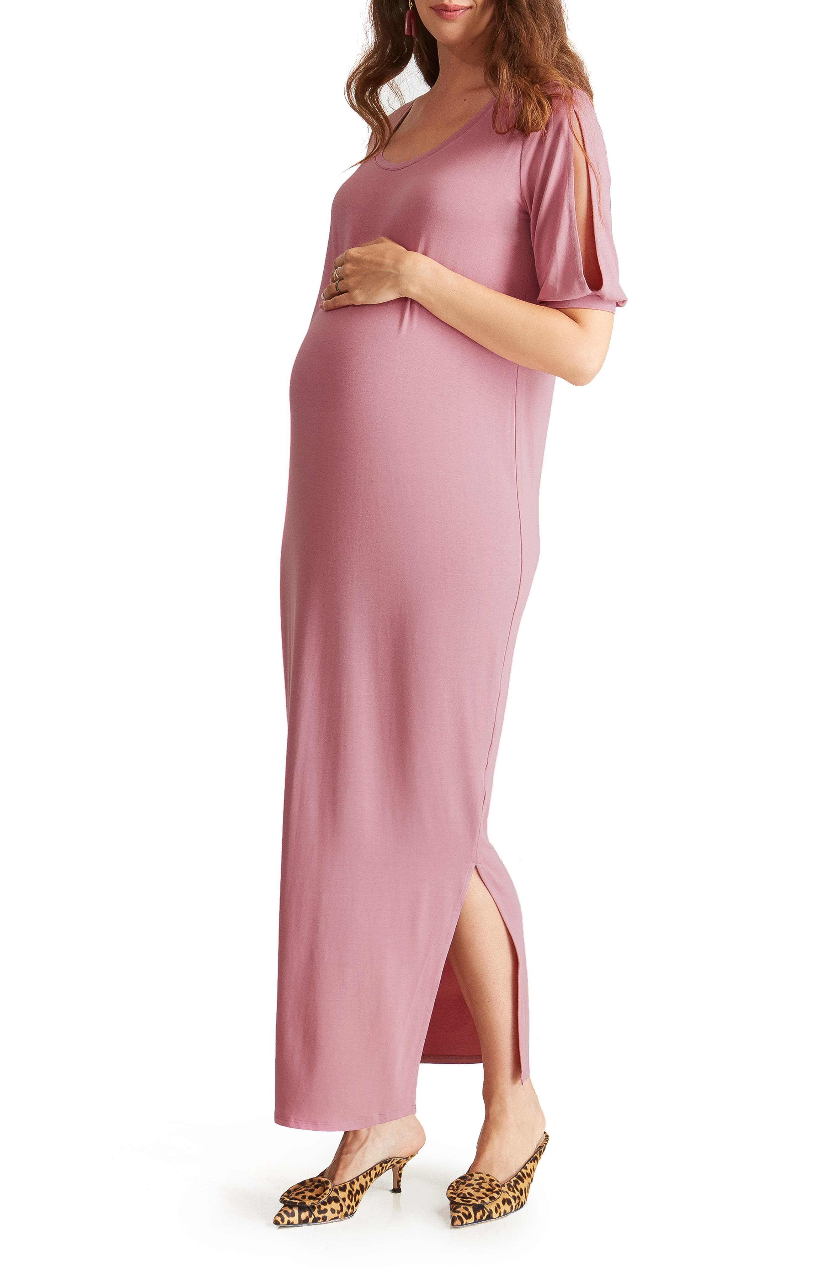 ,                             Split Sleeve Knit Maternity Maxi Dress,                             Alternate thumbnail 10, color,                             659
