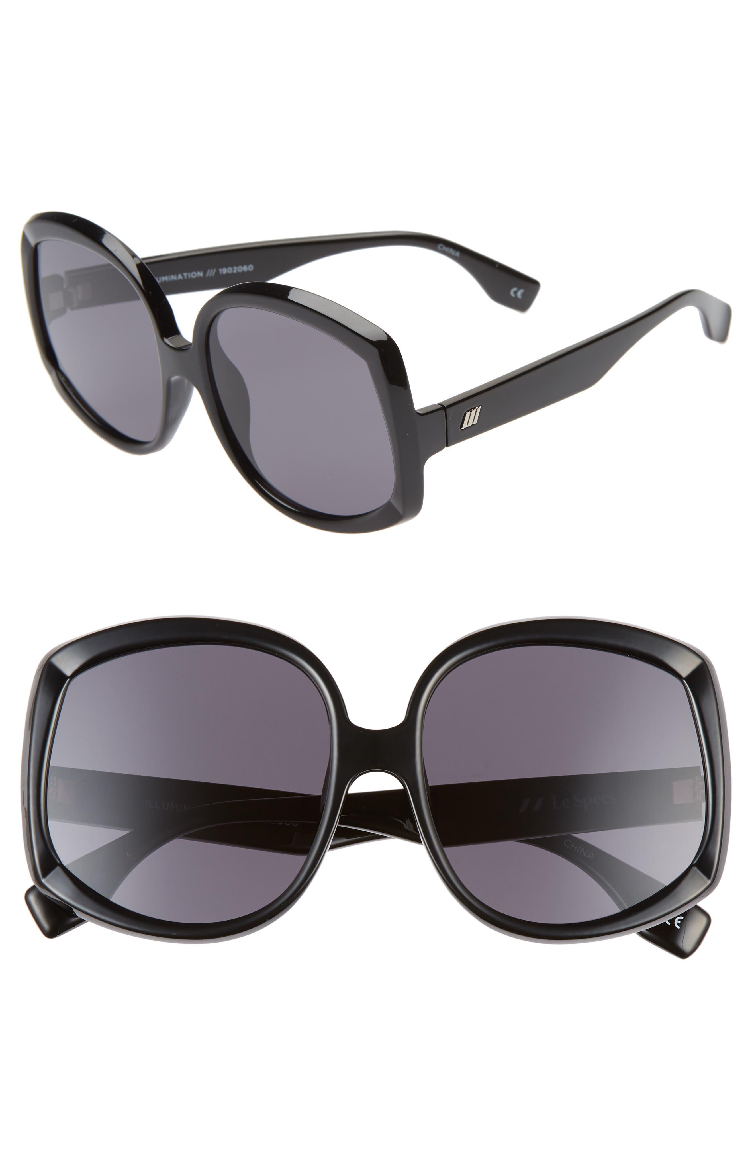 Le Specs Illumination 5m Square Sunglasses - Black/ Smoke
