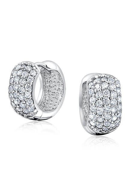 Image of Bling Jewelry Rhodium Plated CZ Pave Huggie Earrings