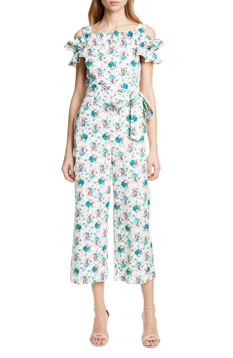 REBECCA TAYLOR Carnation Cold Shoulder Crop Cotton & Linen Jumpsuit, Main, color, EMERALD COMBO