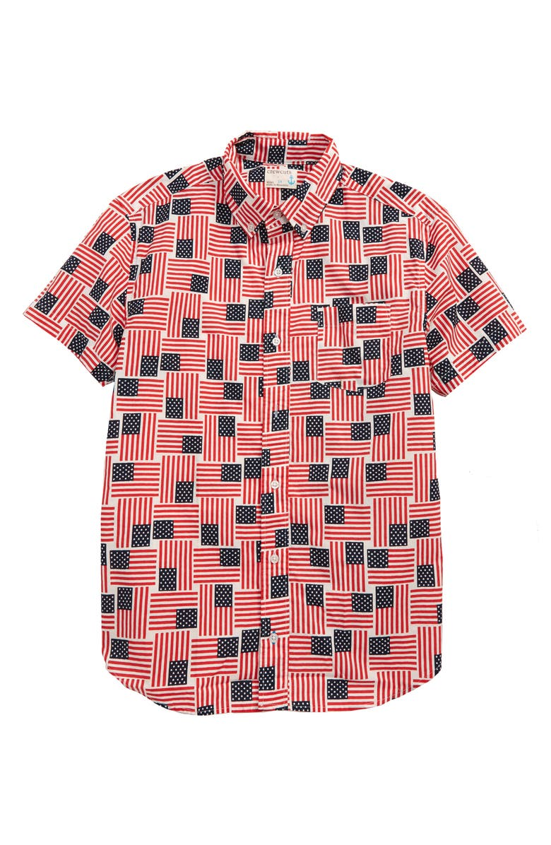 CREWCUTS BY J.CREW Flag Print Stretch Poplin Button-Down Shirt, Main, color, 600