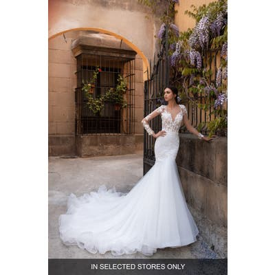 Pronovias Dione Long Sleeve Lace Mermaid Wedding Dress, Size IN STORE ONLY - Ivory