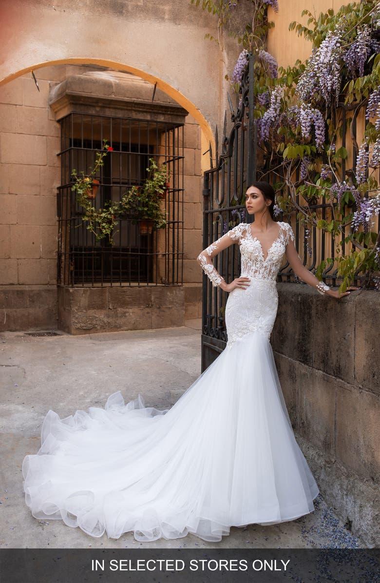 Pronovias Dione Long Sleeve Lace Mermaid Wedding Dress Nordstrom