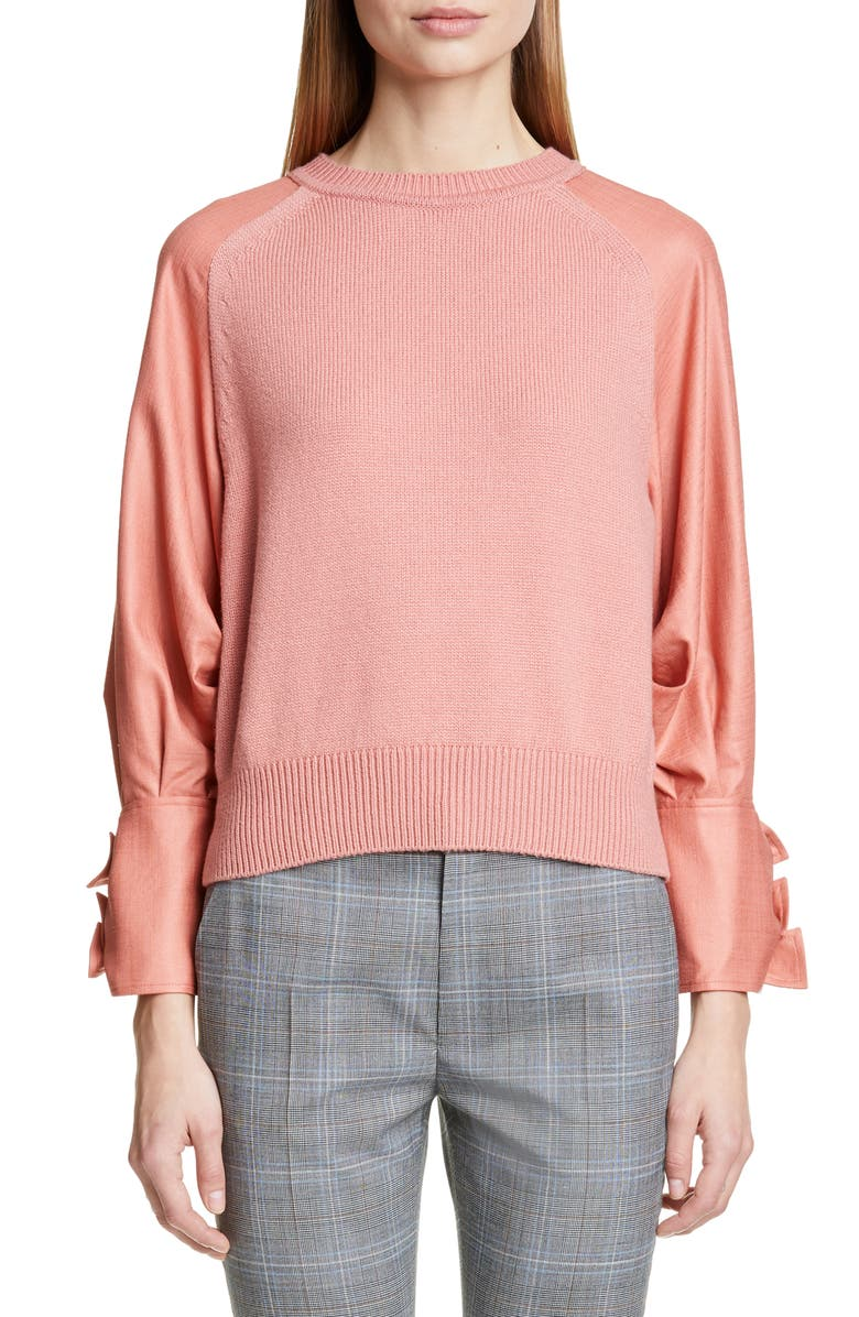 ADEAM Bow Cuff Mixed Media Sweater, Main, color, PEACH CORAL