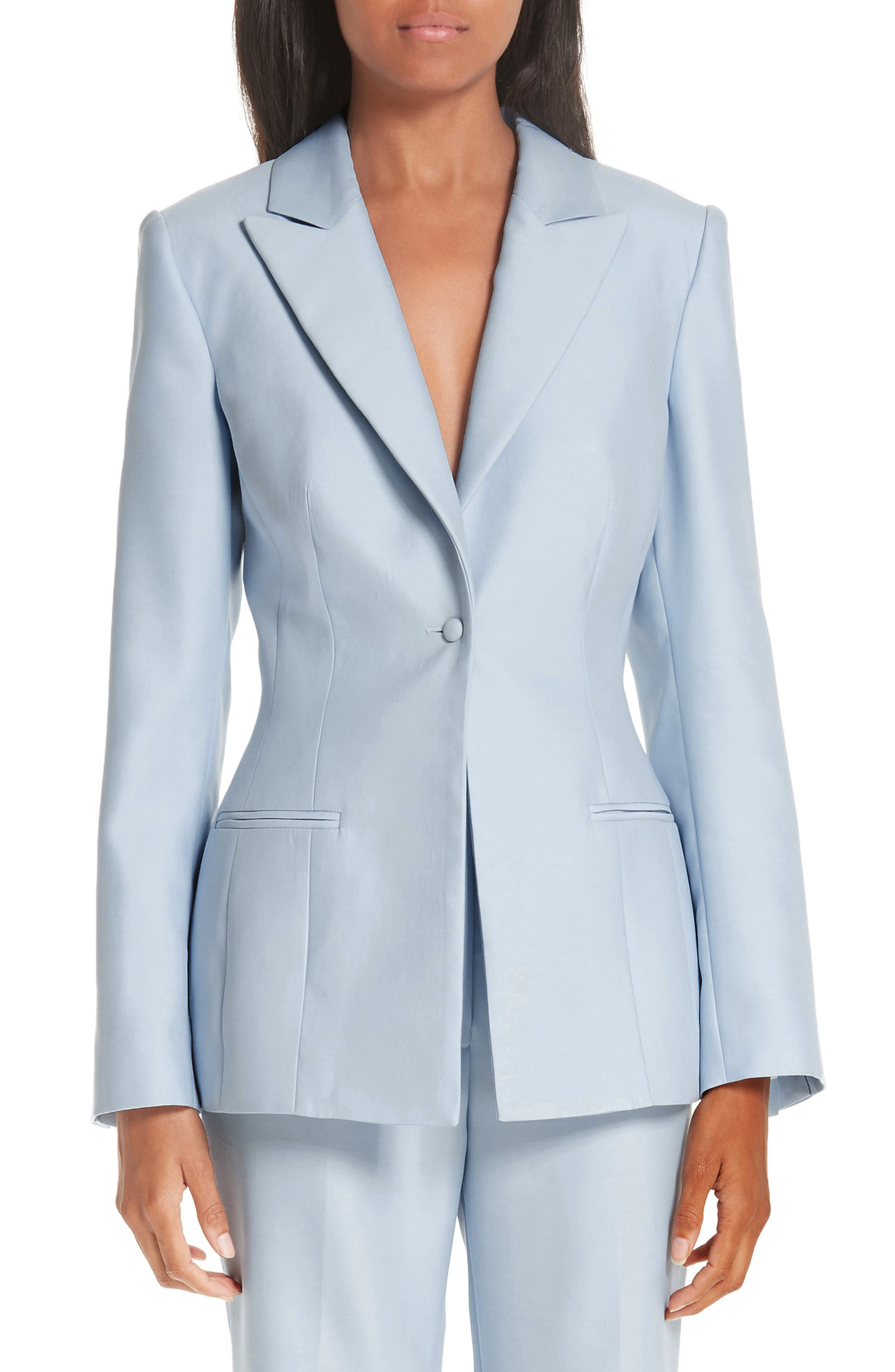 One-Button Wool & Silk Jacket, Main, color, PALE BLUE