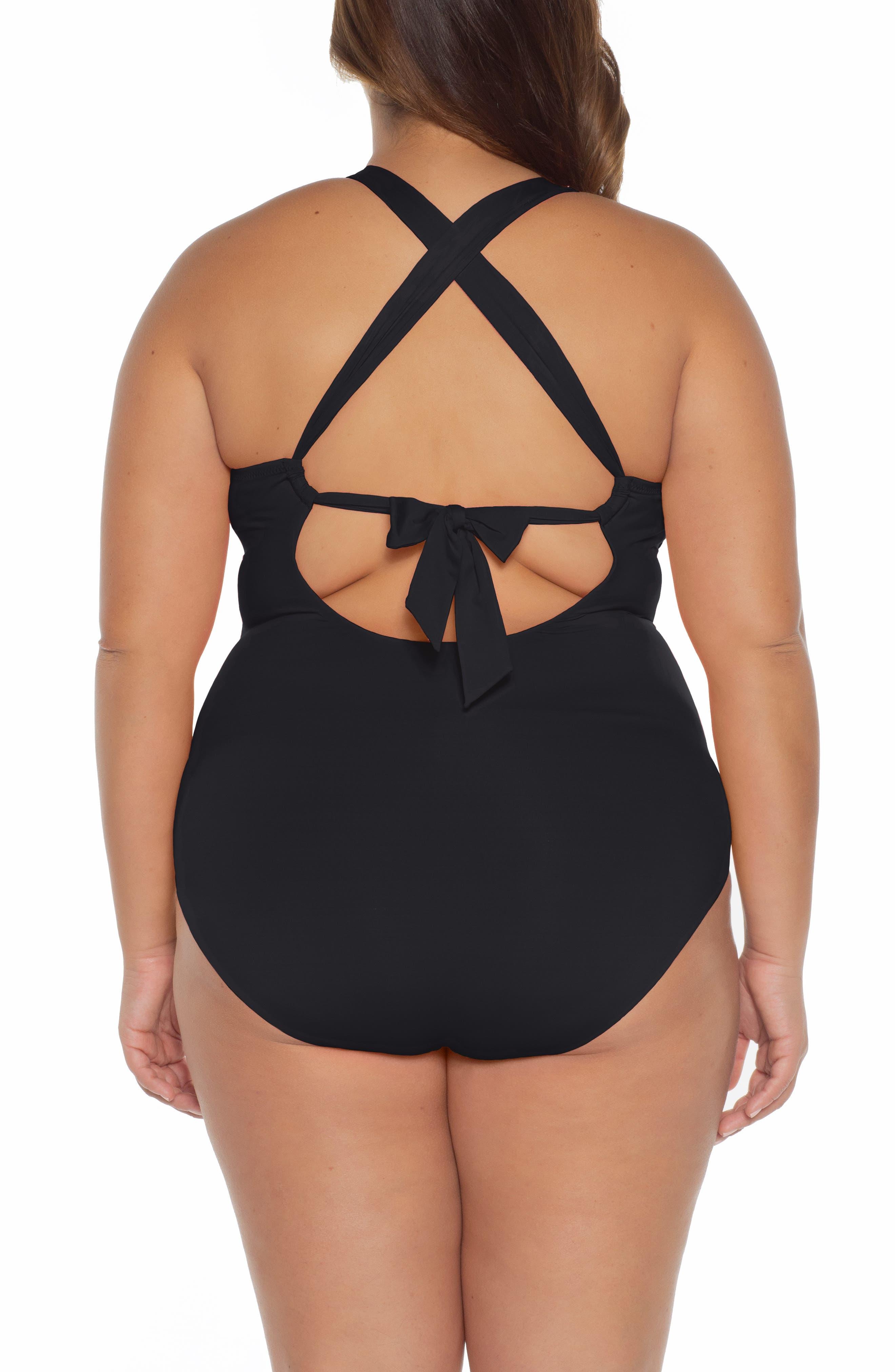 ,                             Color Code One-Piece Swimsuit,                             Alternate thumbnail 2, color,                             BLACK