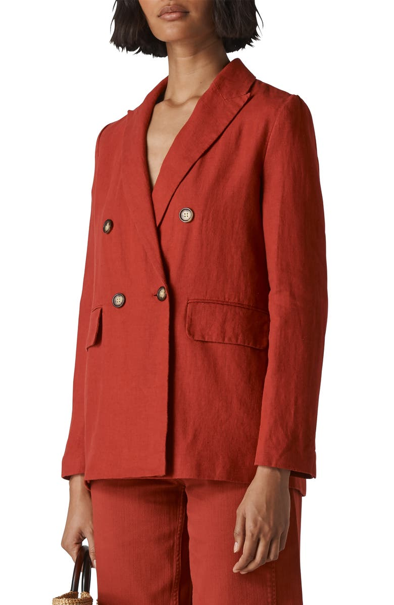 WHISTLES Double Breasted Linen Blazer, Main, color, 800