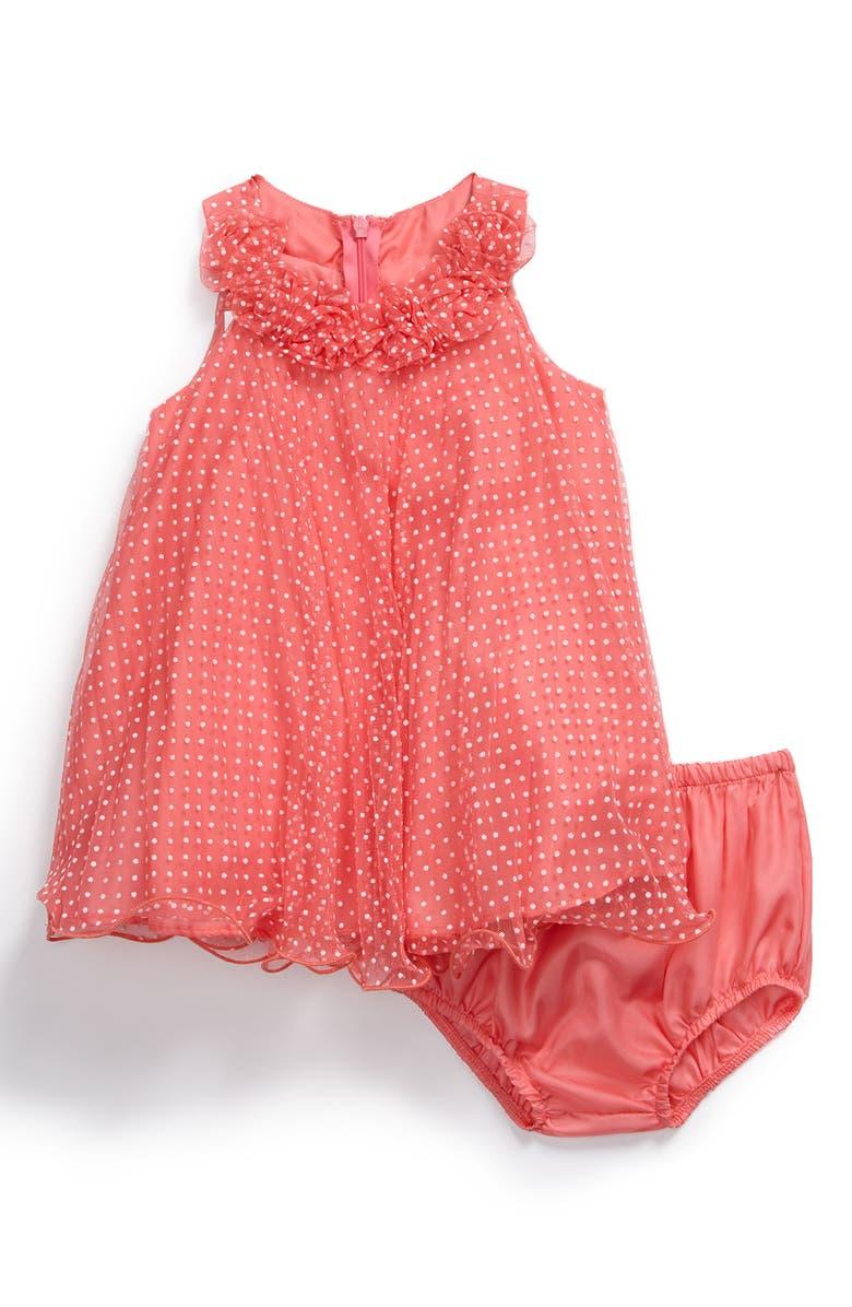IRIS & IVY Flocked Dot Mesh Dress, Main, color, 950