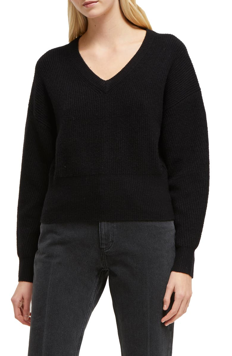 FRENCH CONNECTION River Ribbed V-Neck Sweater, Main, color, BLACK