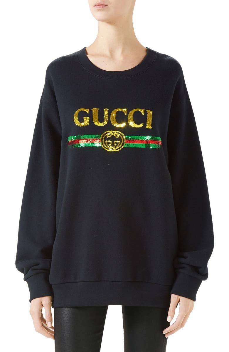 GUCCI Sequin Tiger Logo Oversized Sweatshirt, Main, color, 001