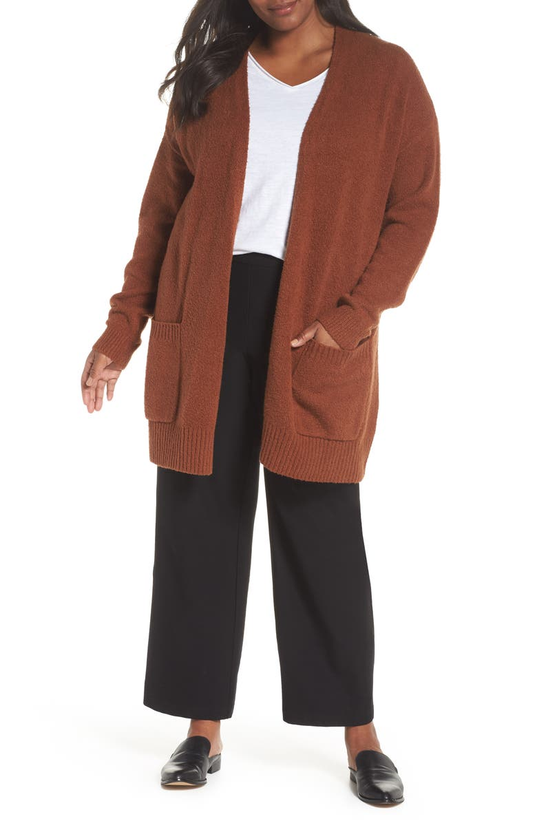 EILEEN FISHER Long Organic Cotton Blend Cardigan, Main, color, 200