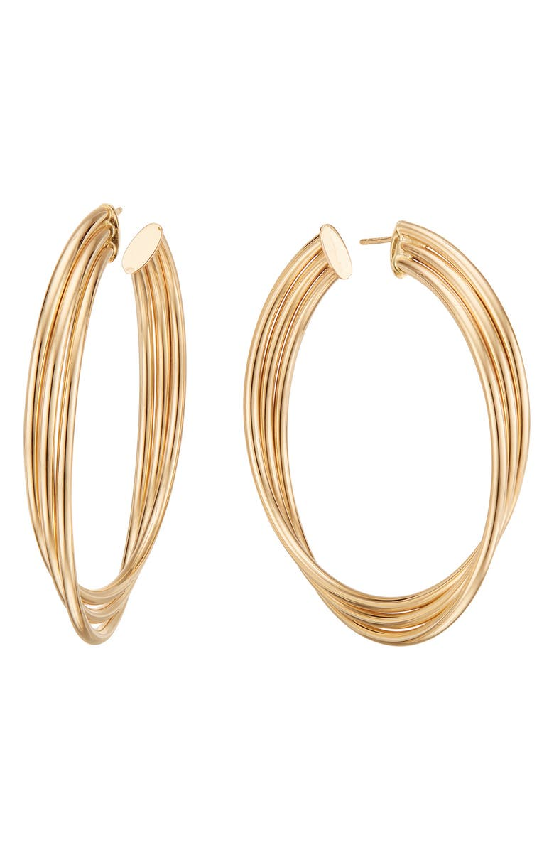 LANA JEWELRY Triple Twist Royale Hoop Earrings, Main, color, 710
