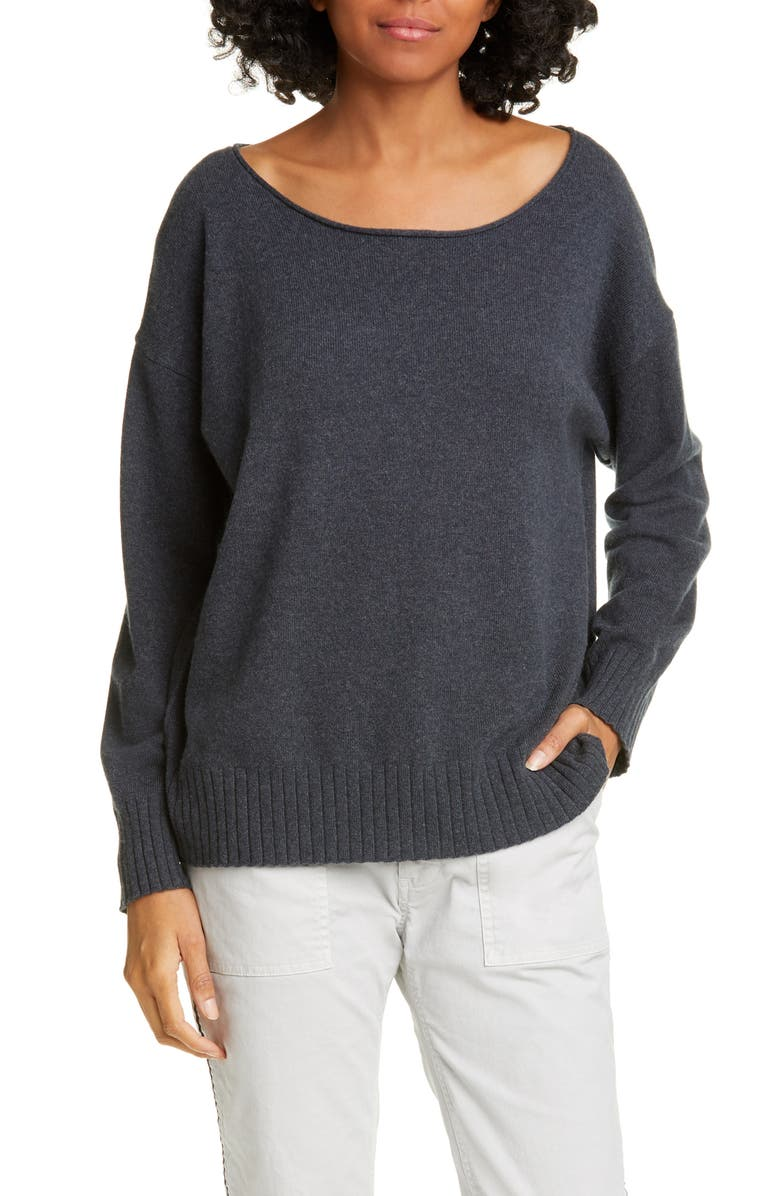 NILI LOTAN Jolene Cashmere Sweater, Main, color, CHARCOAL
