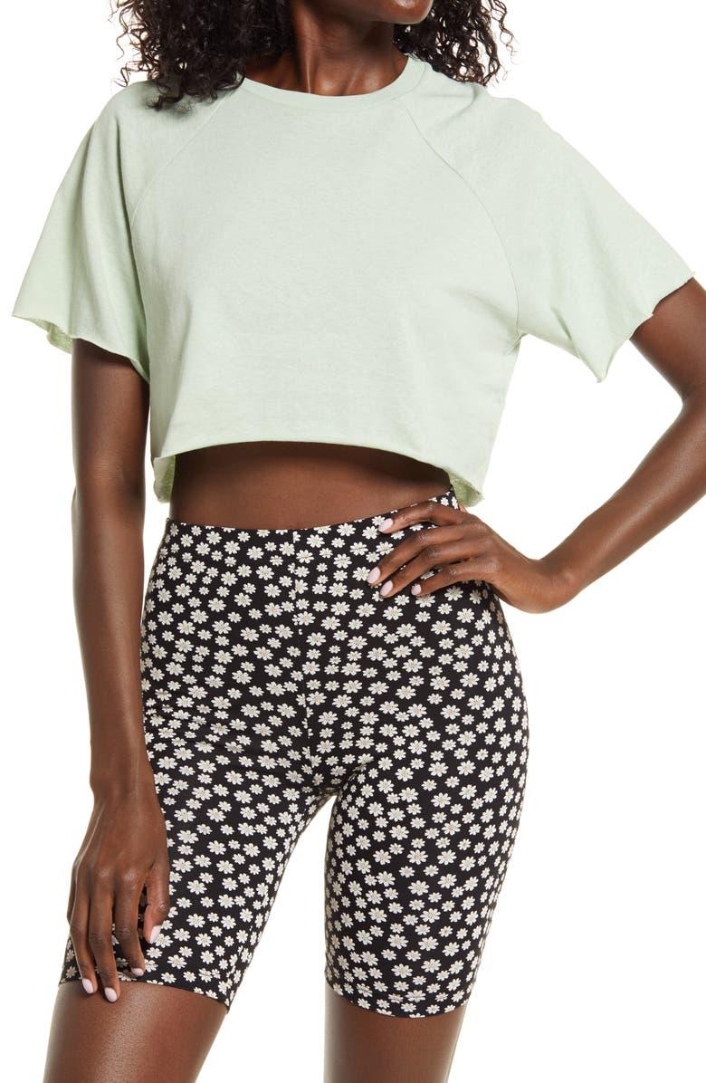 TOPSHOP Raglan Crop T-Shirt, Main, color, SAGE