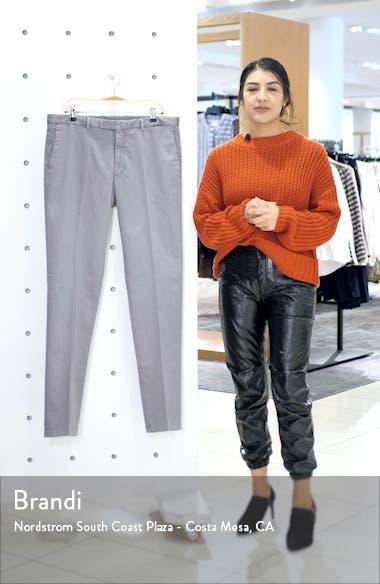 Slim Fit Grey Stretch Cotton Hopsack Trousers, sales video thumbnail