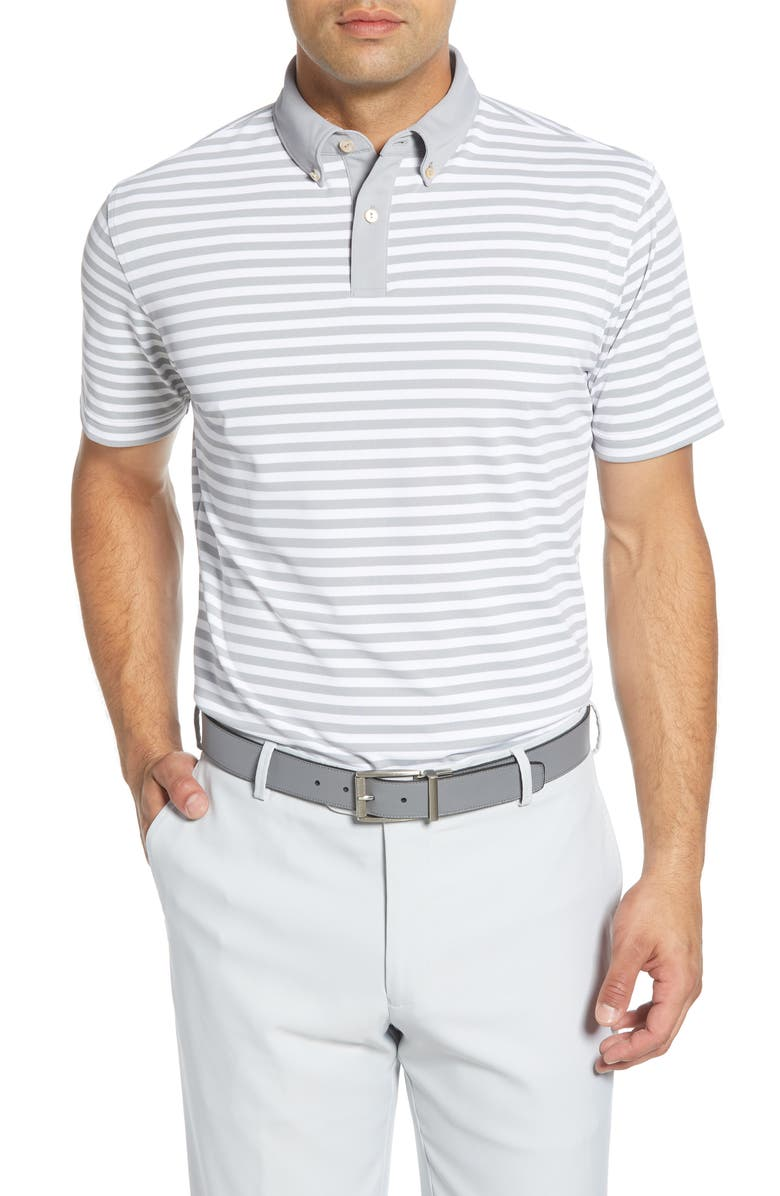 PETER MILLAR Bechet Regular Fit Stripe Button-Down Polo Shirt, Main, color, GALE GREY