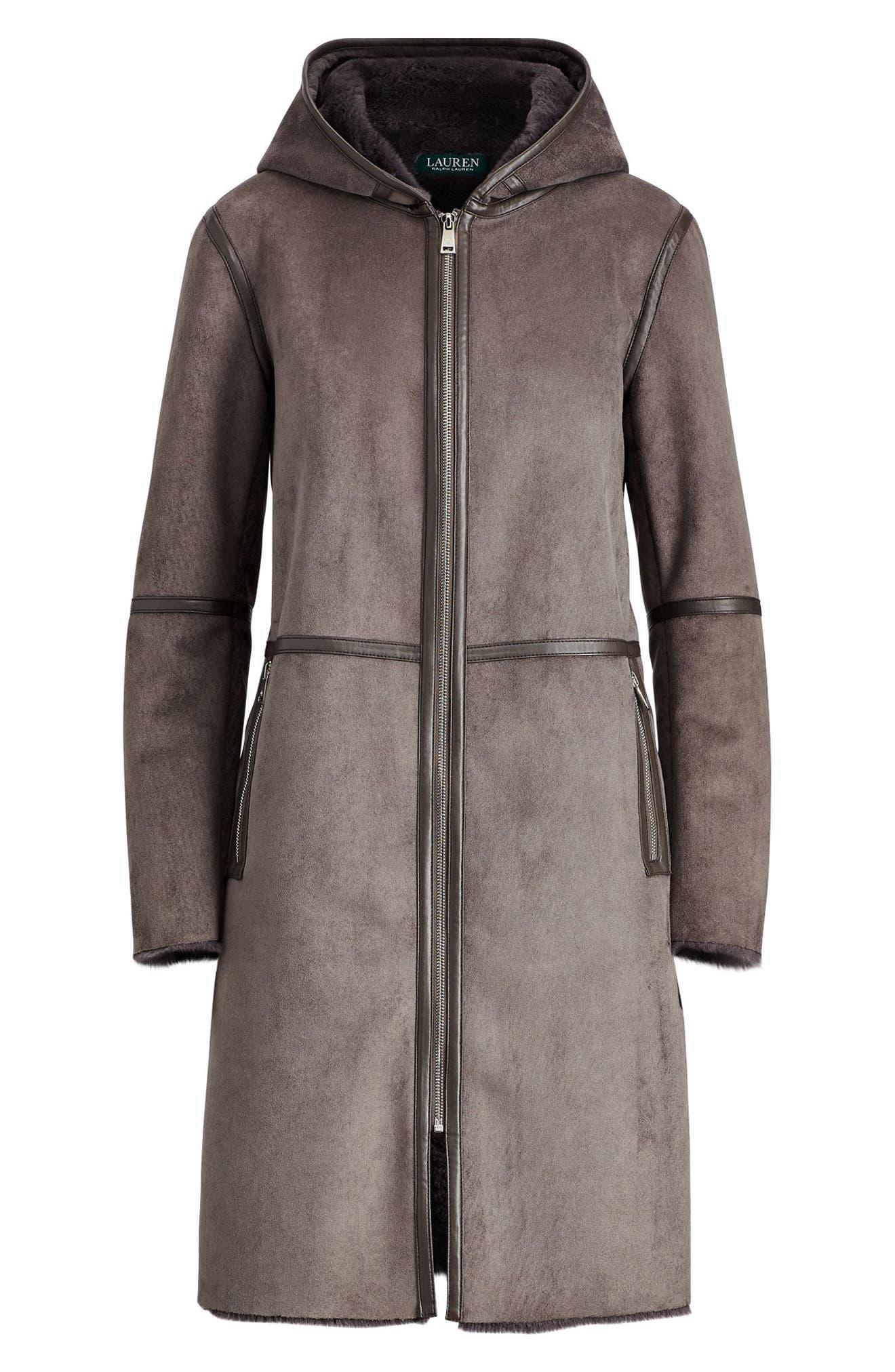 ,                             Faux Shearling Duffle Coat,                             Alternate thumbnail 5, color,                             034