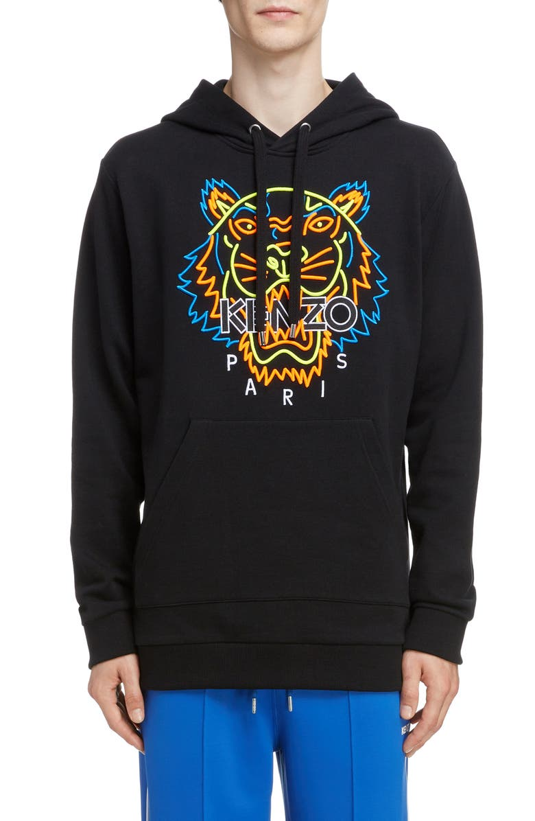 KENZO Neon Tiger Embroidered Hoodie, Main, color, BLACK