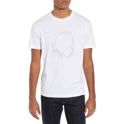 French Connection Headphones Regular Fit Cotton T-Shirt, White