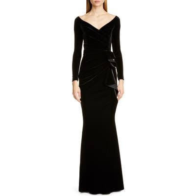 Chiara Boni La Petite Robe Silveria Long Sleeve Velvet Gown, US / 44 IT - Black