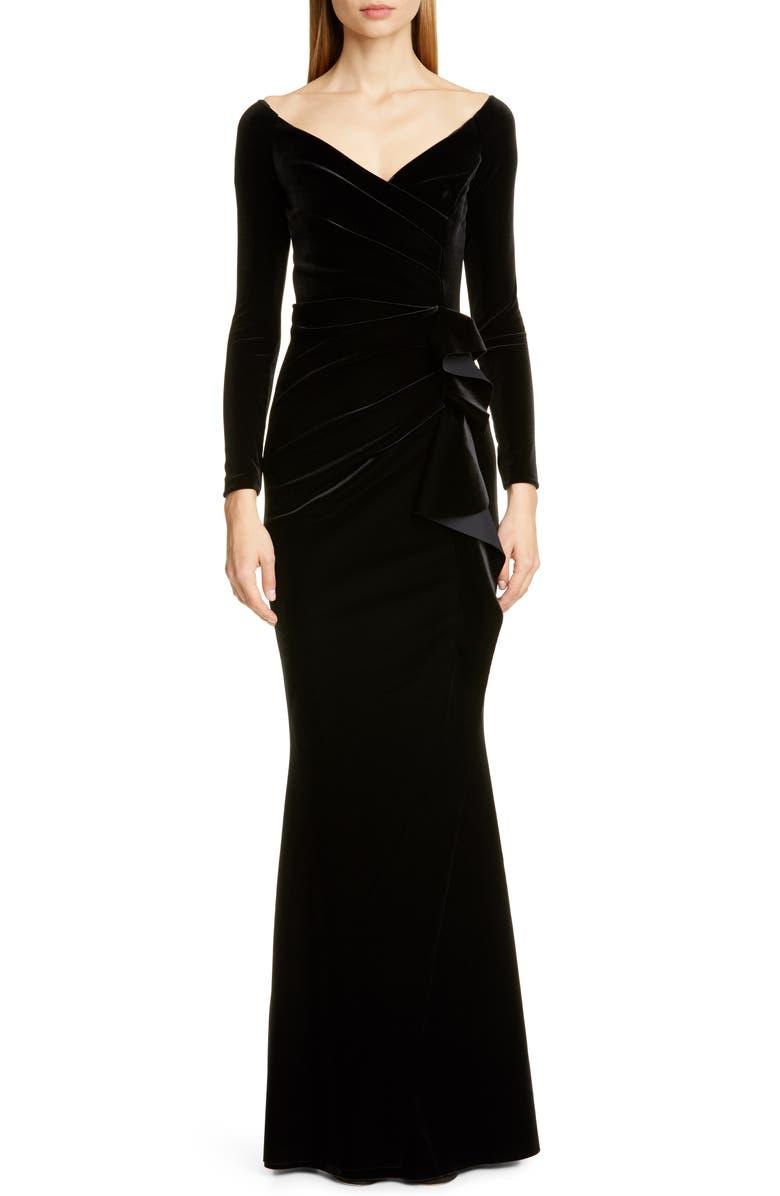 CHIARA BONI LA PETITE ROBE Silveria Long Sleeve Velvet Gown, Main, color, BLACK