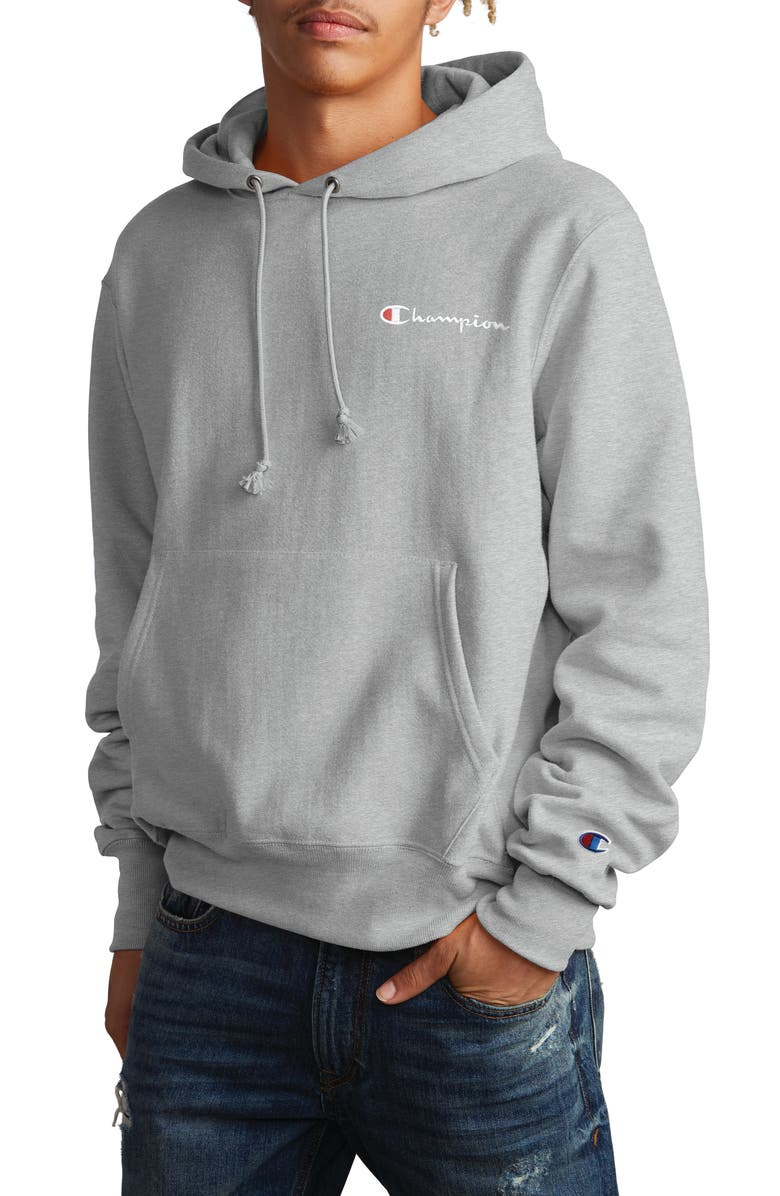CHAMPION Reverse Weave<sup>®</sup> Script Chest Logo Hoodie, Main, color, OXFORD GREY