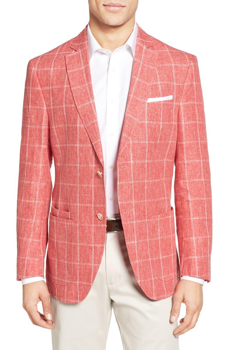 JKT NEW YORK Trim Fit Windowpane Linen Sport Coat, Main, color, 600