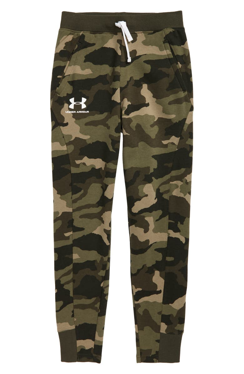 UNDER ARMOUR Rival ColdGear<sup>®</sup> Camo Print Jogger Pants, Main, color, OUTPOST GREEN/ WHITE