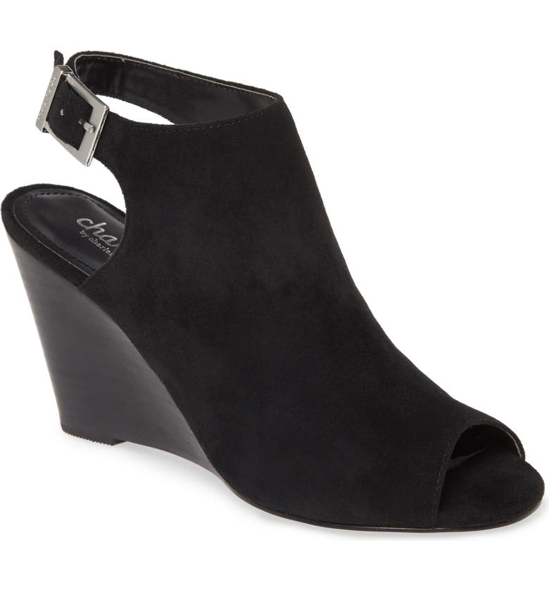 CHARLES BY CHARLES DAVID Elise Wedge Sandal, Main, color, BLACK FAUX SUEDE