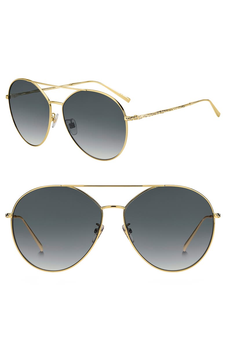 GIVENCHY 64mm Oversize Crystal Aviator Sunglasses, Main, color, GOLD/ DARK GREY