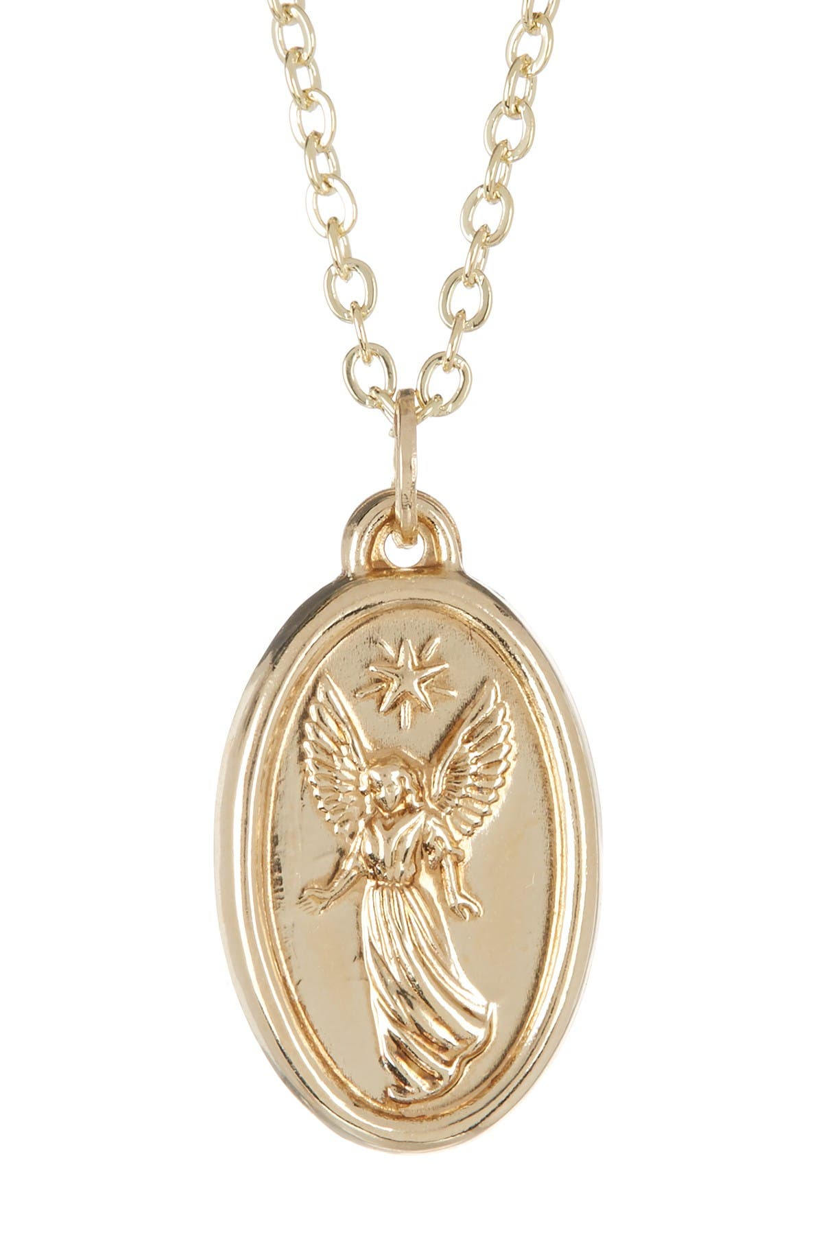 Image of Best Silver Inc. 14K Yellow Gold Oval Angel Medallion Necklace