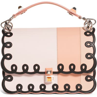 Fendi Kan I Scalloped Stripe Leather Shoulder Bag -