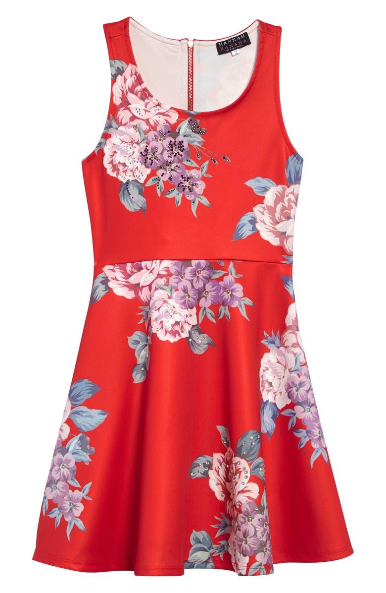 HANNAH BANANA Crystal Embellished Floral Skater Dress, Main, color, 647