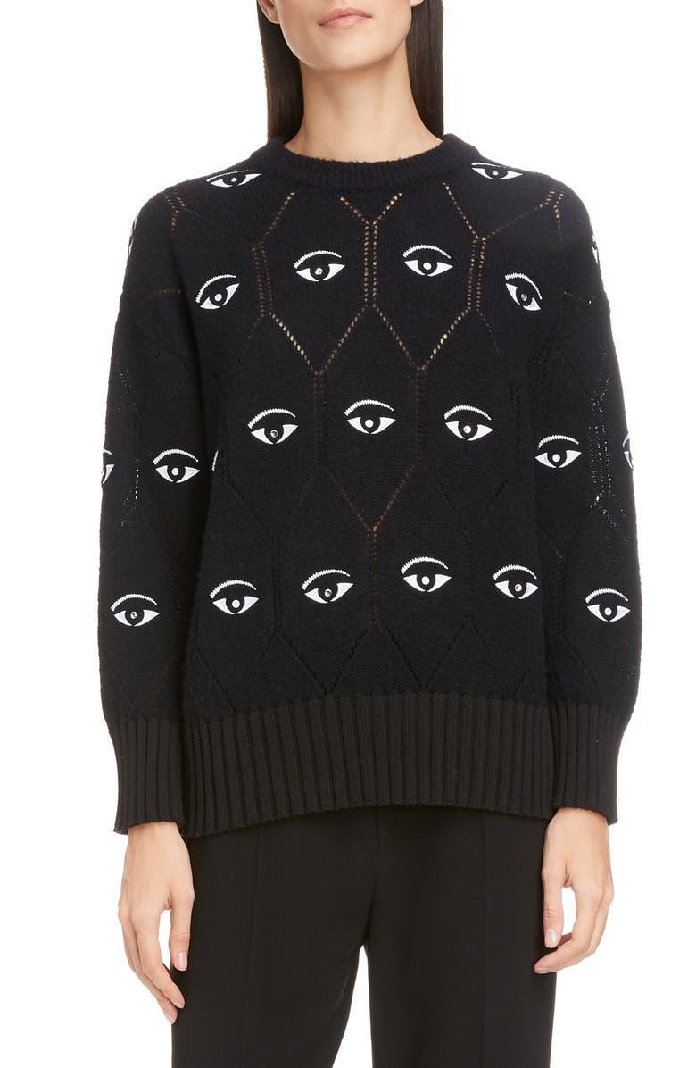 KENZO Eye Logo Wool Blend Sweater, Main, color, BLACK