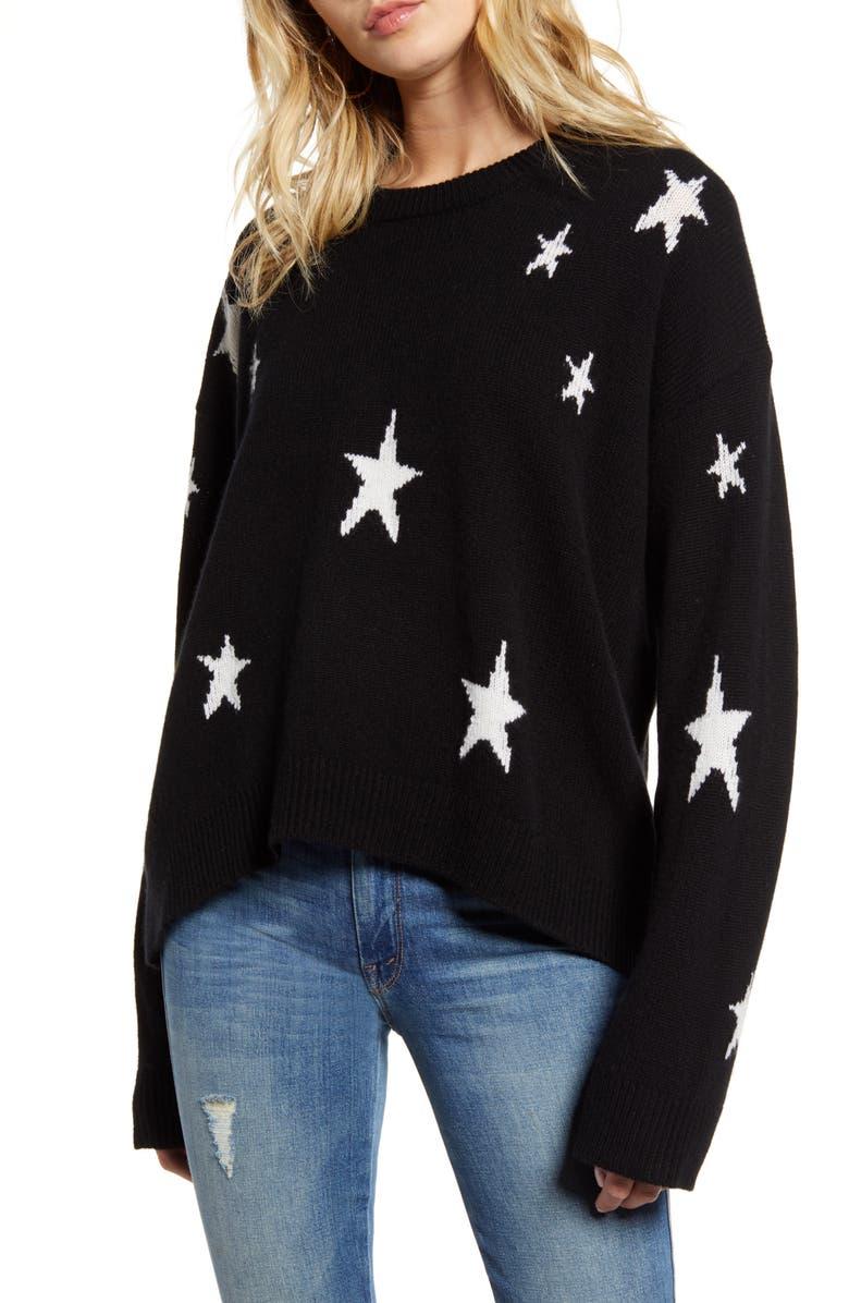 ZADIG & VOLTAIRE Markus C Star Pattern Cashmere Sweater, Main, color, NOIR