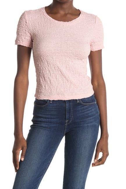 Image of Elodie Short Sleeve Crinkle Knit T-Shirt