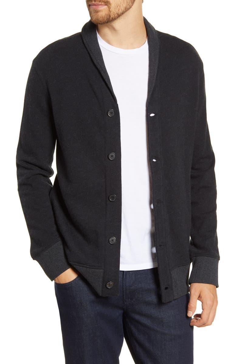 BILLY REID Cotton & Cashmere Button Cardigan, Main, color, BLACK